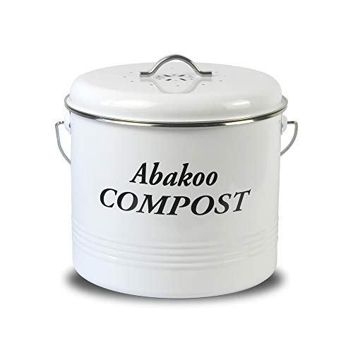 Abakoo Compost Bin for Kitchen Counter 1.5 Gallon Powder-Coated Carbon Steel | Kitchen Pail with Lid, Trash Keeper Container Bucket, Recycling Caddy, Includes 3 Charcoal Filters, White