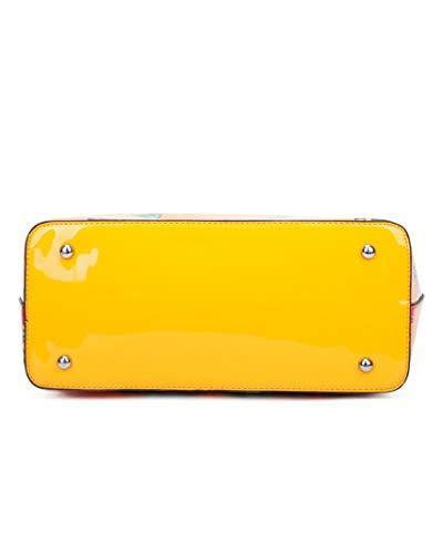 LeahWard Kvinnor stor storlek dubbade axelväskor shoppare 2 i 1 handväskor damkvalitet konstläder tygväska handväska skola college 477 (MUSTARD patentset)