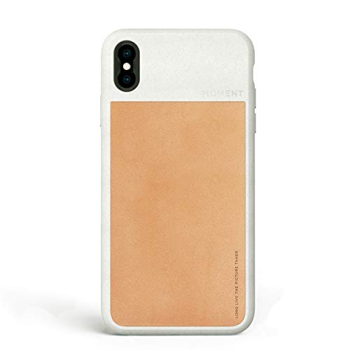 iPhone Xs Max Case || Moment Photo Case in Tan Leather - Protective, Durable, Wrist Strap Friendly case for Camera Lovers.