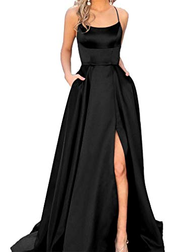 JASY Women's Spaghetti Satin Long Black Side Slit Prom Dresses with Pockets