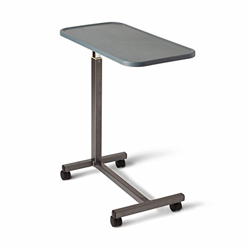 Medline Adjustable Overbed Bedside Table with Wheels, Great for Hospital Use or at Home as Bed Tray, Composite Table Top ()
