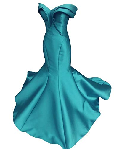 Scarisee Women's Mermaid/Trumpet Off Shoulder Evening Dresses Formal Prom Celebrity Party Gowns Turquoise 02