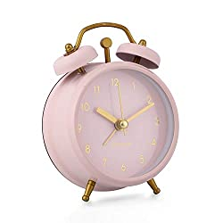 Loud Alarm Clock for Girls, 3 Inch Silent Non-Ticking Quartz Double Twin Bell Alarm Clock Beep Sounds Battery Operated Classic Tabletop Desk Alarm Clock for Bedroom, Pink
