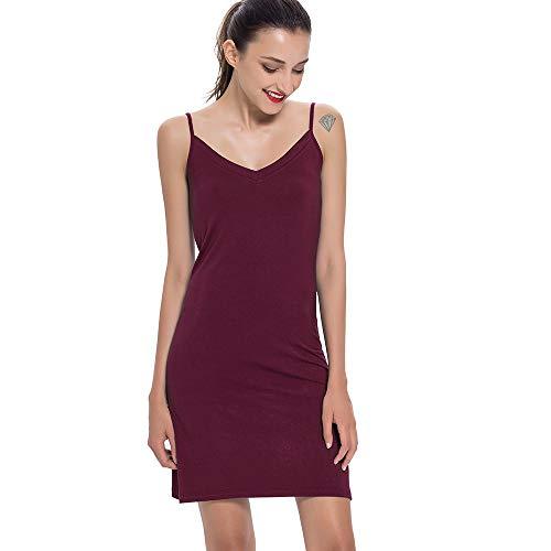 Full Slips for Women, Bamboo Adjustable Strap V Neck Under Dresses Nightgowns - Slip Burgundy