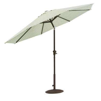 HDC Inc. Home Decorators Collection Camden 9 ft. Aluminum Crank Patio Umbrella in Fretwork Mist