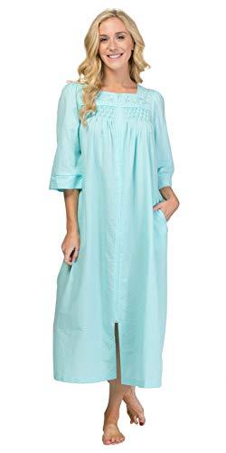 Miss Elaine Plus Seersucker - Square Neck Long Zip Robe in Aqua (Aqua, 2X)
