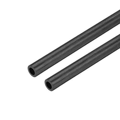uxcell Carbon Fiber Round Tube 5mm x 3mm x 400mm Carbon Fiber Wing Pultrusion Tubing for RC Airplane Quadcopter 2 Pcs