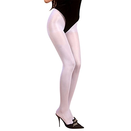 Price comparison product image Phillip Dudley Women Glitter Shimmer Tights Seamless Shiny Glossy Oil Stocking Dance Thigh Highs Tights Pantyhose White