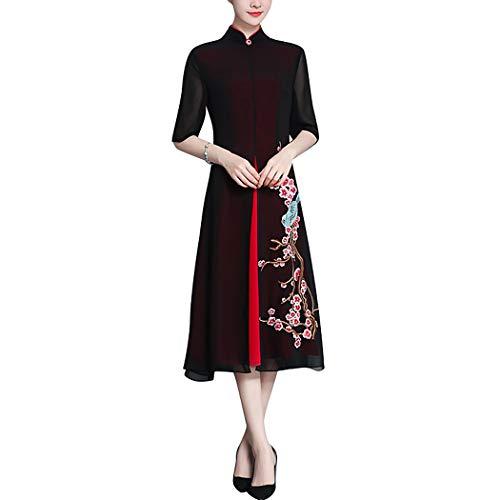 HÖTER Women's Qipao High Split Slim Dress Printed Long Sleeve Vintage Chinese Silk Cheongsam(S-3XL) for $<!--$29.99-->