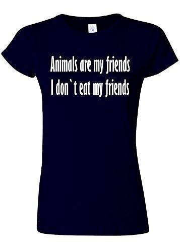 チャンピオンシップ失礼エッセイAnimals Are My Friends Funny Novelty Navy Women T Shirt Top-L