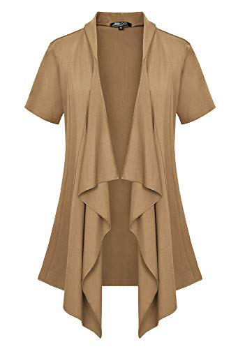 Women's Short Sleeve Draped Open Front Cardigan Vest Asymmetric Hem (L, - Cardigan Camel