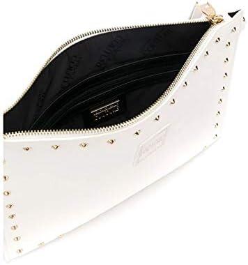 Versace Borsetta da polso con tracolla removibile borchie jeans couture colore bianco
