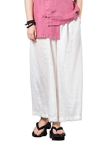 Hippie Air Blanc Harem Un Pantalon Loisirs Boho Longue De Lin Coton Yoga Plein BESBOMIG Jambe Large Pantalons Pantalon 5Tnq6q
