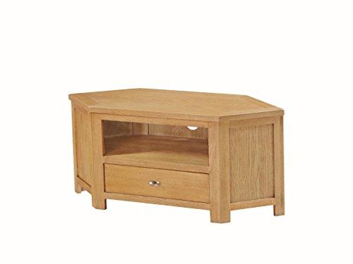 Everest Solid Oak Corner TV Unit - Plasma TV Cabinet - Finish : Oak - Living Room Furniture