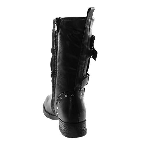 Biker Black Studded Buckle cm Material Women's Heel Block Shoes Angkorly Fashion bi 5 Boots Classic 3 Zip z8qwacIUBc
