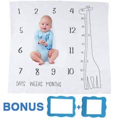 Baby Monthly Milestone Blanket Giraffe - Boy Girl Toddler Blankets - Blue - Giraffe Toddler Blankets