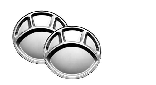 WhopperOnline Set of 2 Round Stainless Steel 4 Section Dining Plate Thali, Food Tray, Cafeteria Mess Tray, Lunch Plate - Silver, 11.5 Inch ()