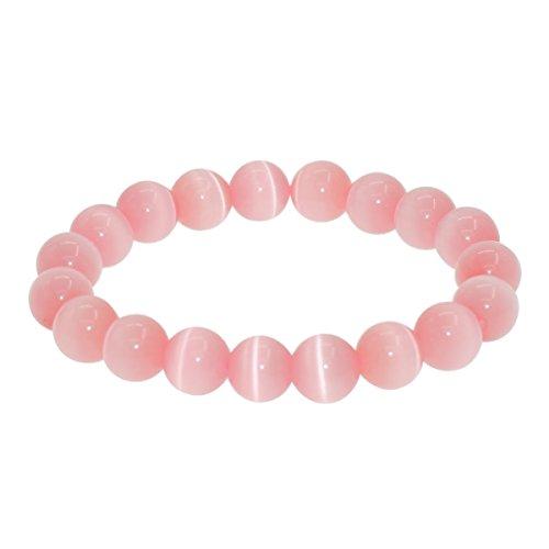 7th Element Gem Semi Precious Gemstone 10mm Round Beads Stretch Bracelet 7 Unisex Women Men Christmas Gift
