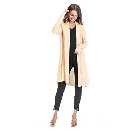 ENIDMIL Womens Open Front Long Drape Cardigan Sweater Long Sleeves Duster Coat Longline Plus Size (Almond, XL)
