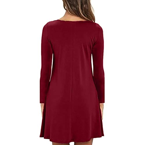 Moda Donna Maglietta Casuale Sulla Tasca Sera Allentata Rosso Da Vino Kimodo Lunga Vestito Da Manica Partito RwZ6nZxq
