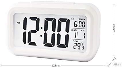 旅行用時計/目覚まし時計、大型で読みやすい文字、多機能、テーブルクロック、温度計 (Color : ホワイト)