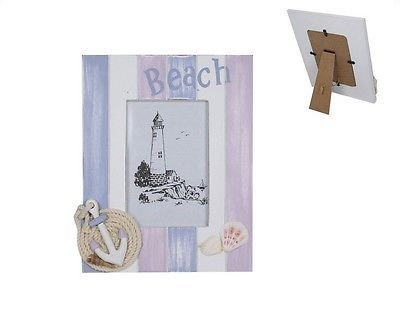 1Pce 24Cm ''Beach'' Theme Photo Frame, With Anchor And Shells