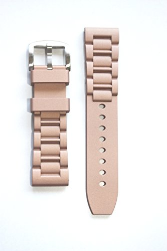 26mm Oyster Style Heavy Rubber Silicone Rose Gold Watchband with S/S Buckle (Oyster Gold Band Watch)
