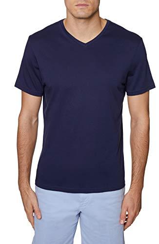 Hickey Freeman Silver Men's Short Sleeve Pima Cotton V-Neck T-Shirt, Navy, Medium