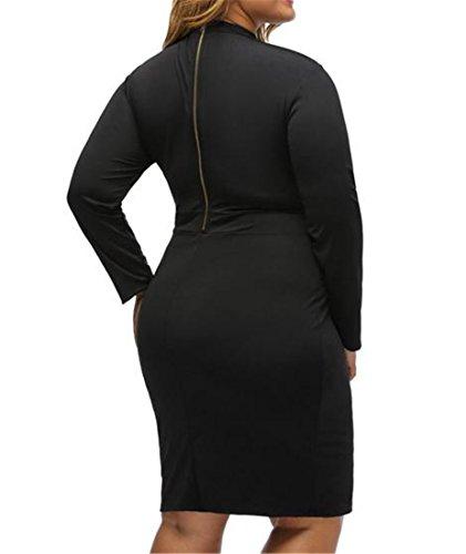 Sleeve Womens Out Solid Cut Splice Long Dress Clubwear High Neck Cruiize Black EIqXwWdE