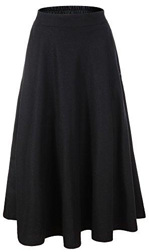 Vocni Women Flared A-Line Winter Wool Blend Midi Long Skirt Black Large (Long Skirts Winter)