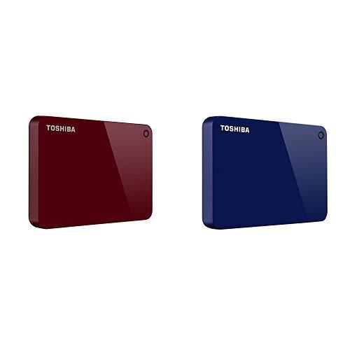 Toshiba Canvio Advance 2TB Portable External Hard Drive USB 3.0, Red (HDTC920XR3AA) with 2TB Portable External Hard Drive USB 3.0, Blue (Toshiba External 2tb Hard Drive)