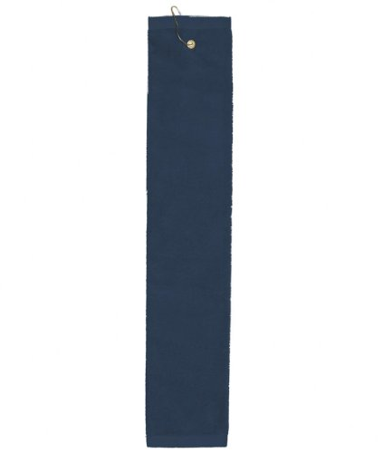 Towels Plus by Anvil Deluxe Tri-Fold Hemmed Hand Towel with Center Grommet and Hook - Navy - One
