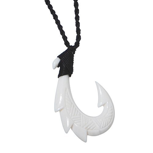 HEI Matau Fishhook Bone Rope Necklace - Triple Barb