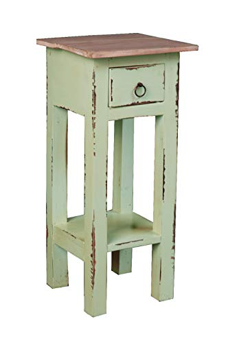Sunset Trading CC-TAB1792TLD-BHLW Shabby Chic Cottage End Table, Small One Drawer, Bahama with Lime Wash Top