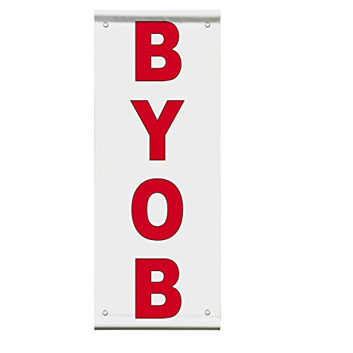 Byob Red Double Sided Vertical Pole Banner Sign 24 in x 48 in
