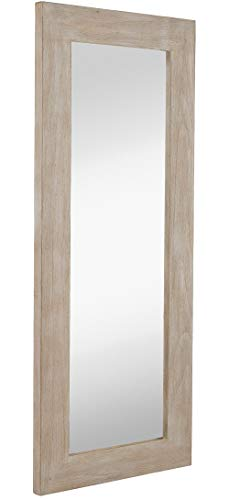 (Hamilton Hills White Washed Wood Framed Mirror Tall 20