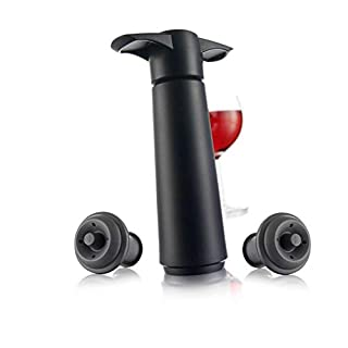 Vacu Vin Wine Saver Pump with 2 x Vacuum Bottle Stoppers - Black (Black with 2 wine stoppers)