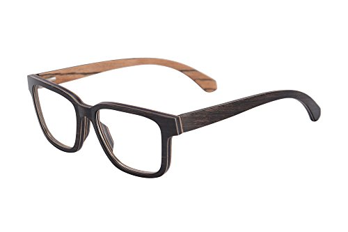 SHINU Horn Rimmed Wood Eyeglasses Frames Clear Lens Wooden Glasses-F138(ebony&zebra) ()