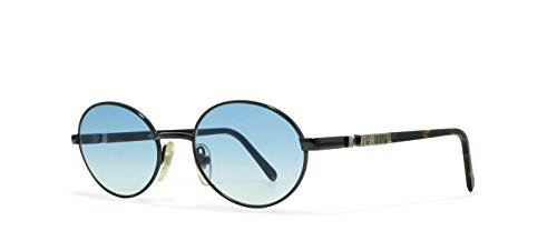 Moschino M3027 513 Black Flat Lens Vintage Sunglasses round For Mens and - Sunglasses Moschino For Men