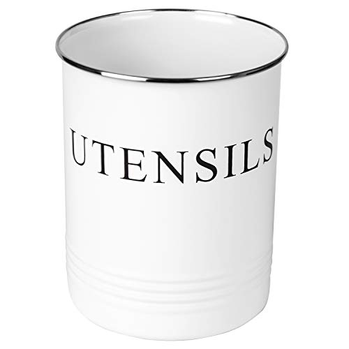 Kitchen Utensil Holder - Farmhouse Decor for Home - White Crock Organizer Caddy - Great for Large Cooking Tools by H+K -