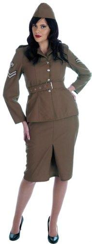 1940s Army Girl Fancy Dress Costume - L (US 14-16) (1940 Fancy Dress Costumes)