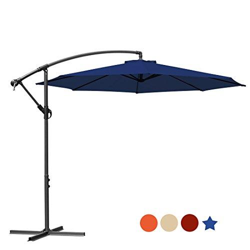 MASVIS 10 Ft Offset Cantilever Umbrella Outdoor Table Market Hanging Patio  Umbrellas & Crank With Cross - Navy Blue Patio Umbrella - TOP 10 Results