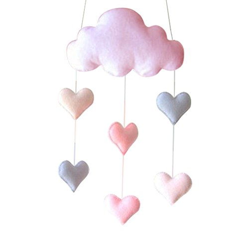 (qiguch66 Decorations for Kids Rooms, Cute Nordic Cloud Stars Hearts Baby Cloth Wall Hanging Decor Gift Photo Props - Pink Heart#)