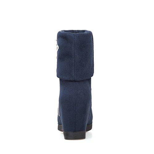 AllhqFashion Mujeres Sólido Tacón Alto Puntera Redonda Gamuza(Imitado) Sin cordones Botas Azul