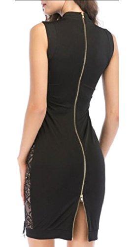 Dress Jaycargogo Bodycon Party Back Black Lace Embroidery Sleeveless Zipper Womens 8qvx18ra