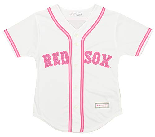 Outerstuff MLB Girls 7-16 RED SOX RED SOX Girls Pink Glitter REP.Jersey S (Red Sox Jersey Kids)