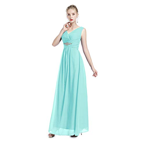 (FYMNSI Bridesmaid Chiffon V-Neck Wedding Prom Long Dress Women Sleeveless Evening Party Cocktail Gown Tiffany Blue 22)