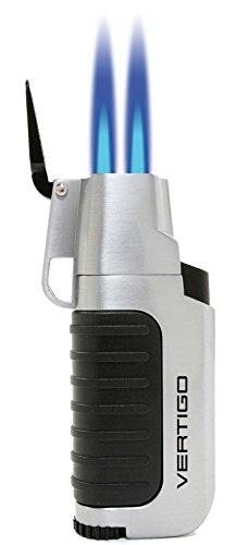 Vertigo Trek Twin Torch Flame Lighter - Brushed Silver & Matte -