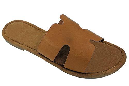 Best Gemma Designer One Band Platform Swedish Greek Sandal Slide Junior Women (Tan Size 6.5)