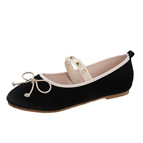 (TnaIolral Women Shoes Flat Comfy Ballerinas Slip On Pumps Ballet Bow Elastic Band Sneaker (US:6.5, Black))